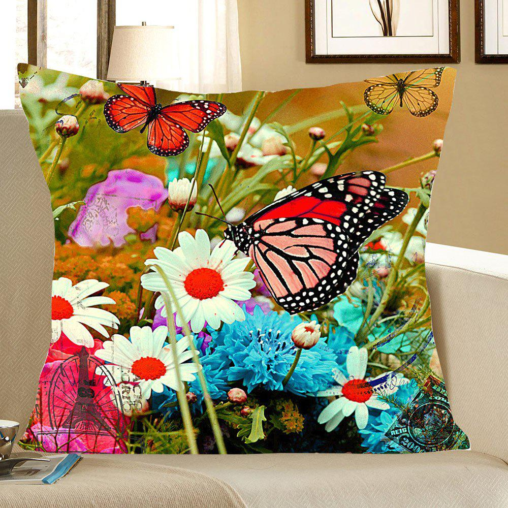 Flowers and Butterfly Pattern Linen Pillow Case handpainted peacock and leaf pattern pillow case
