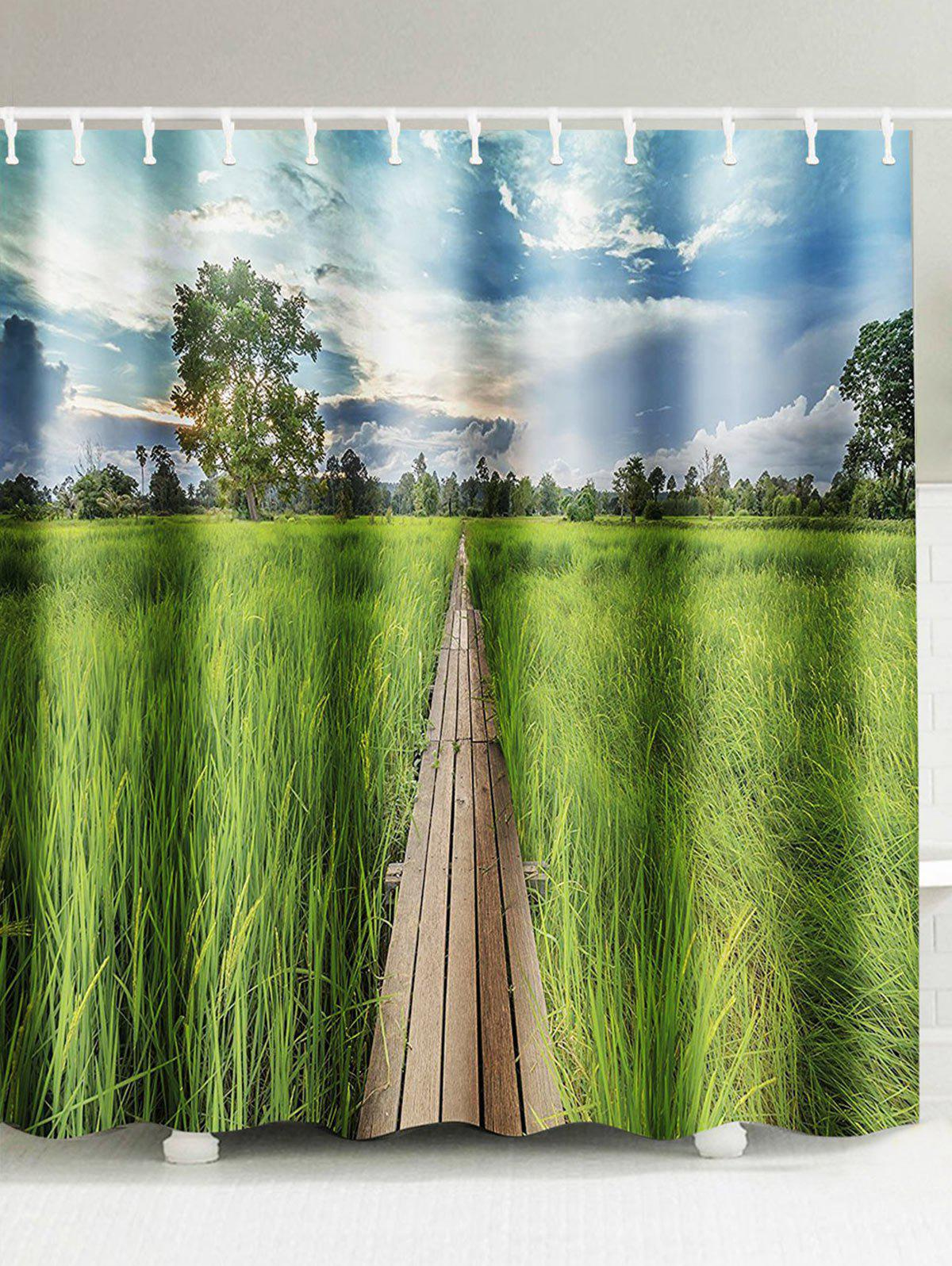 Paddy Field Landscape Waterproof Shower Curtain chinese ink landscape waterproof shower curtain