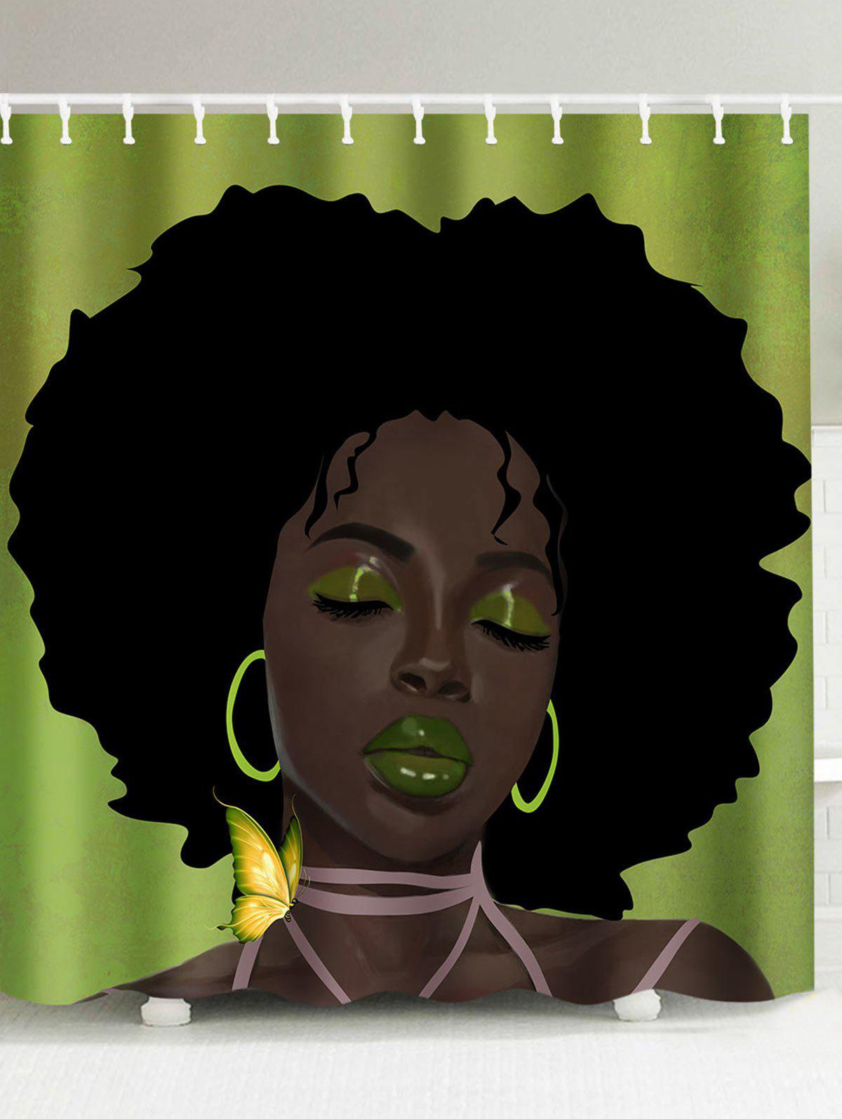 Afro Hair Lady Immersed In Her Own World Pattern Shower Curtain afro vegan