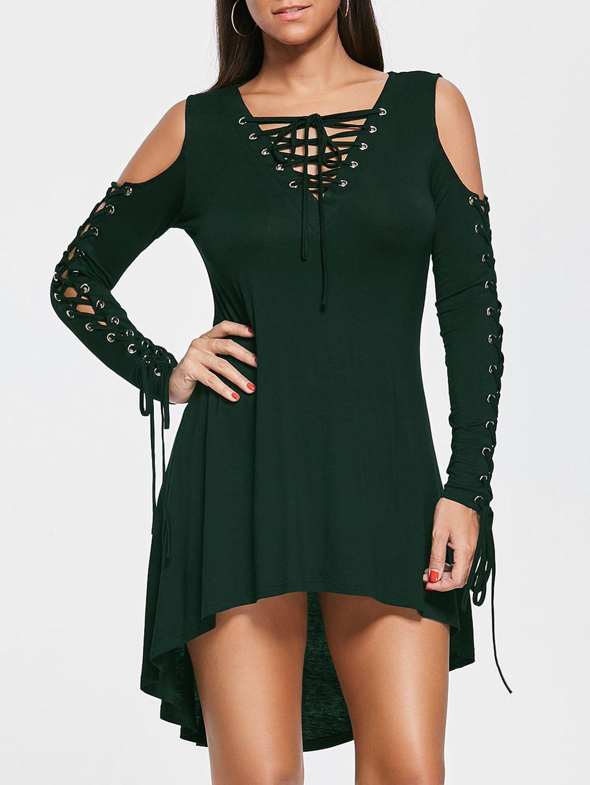 Lace Up Cold Shoulder Tee Dress figure print lace up tee dress