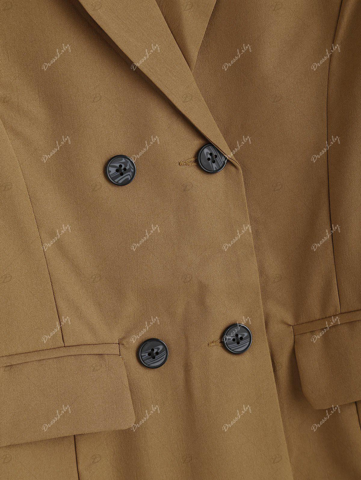 Double Breasted Tunic Blazer - CAMEL XL
