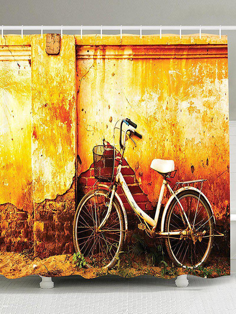 Mottled Wall And Bike Shower Curtain