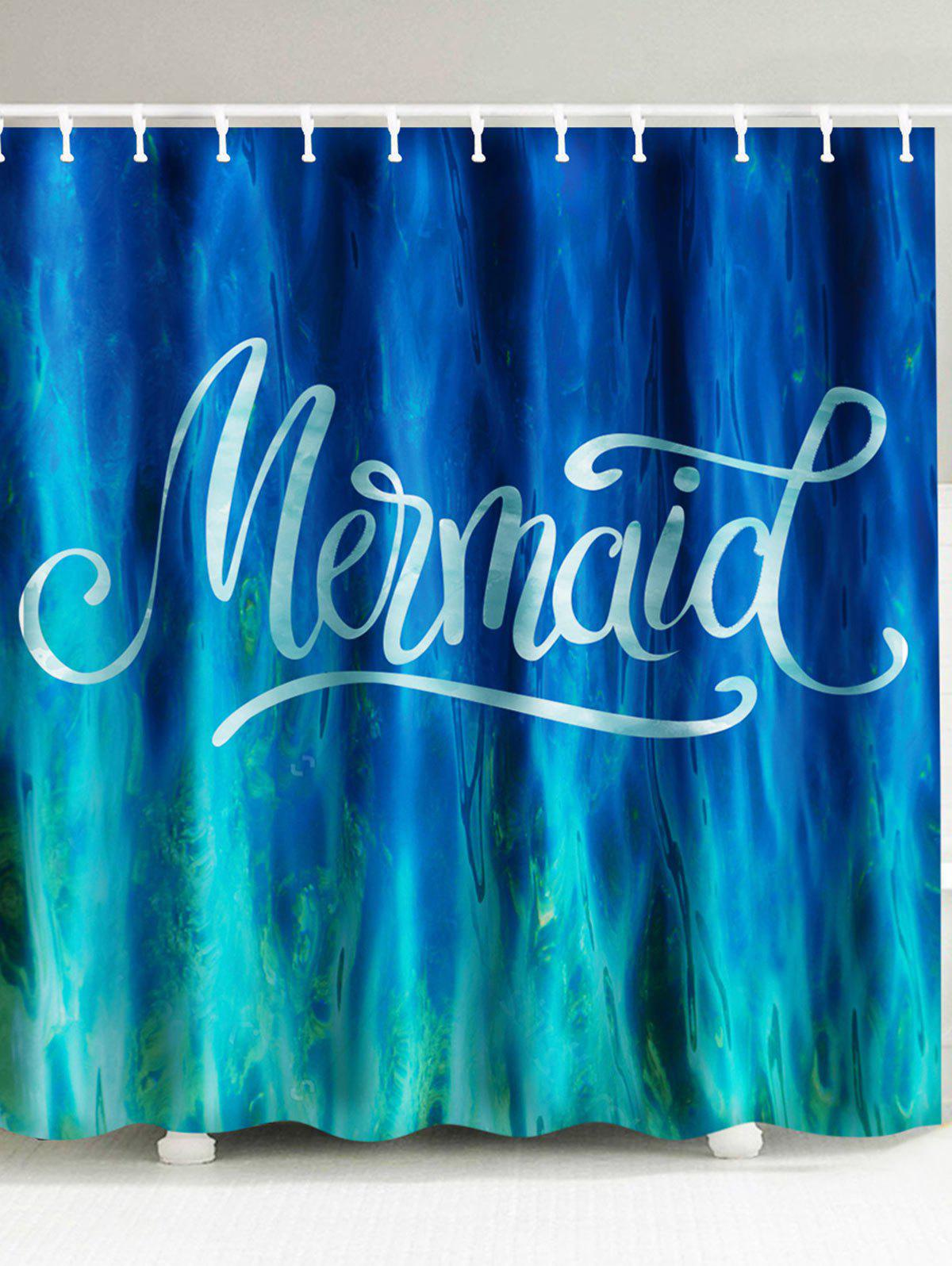 2018 Sea Mermaid Waterproof Fabric Shower Curtain AZURE BLUE CM In ...