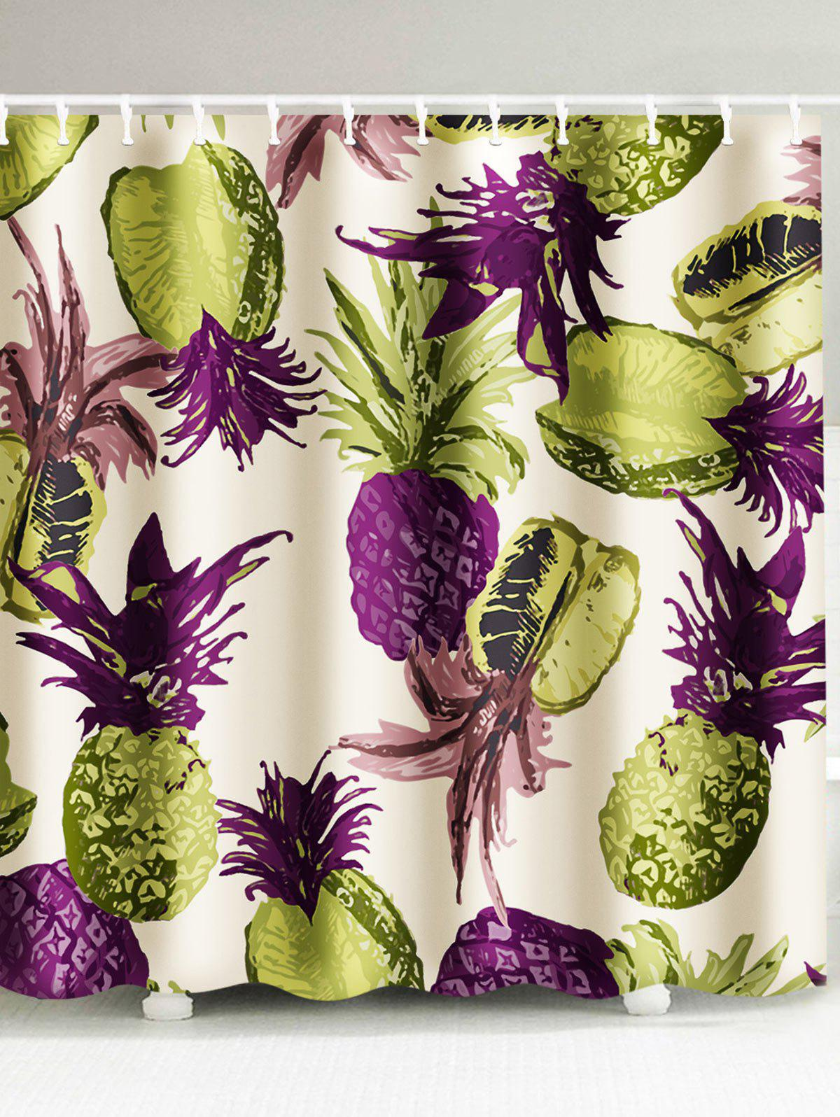 2018 Tropical Pineapple Waterproof Fabric Shower Curtain COLORMIX CM ...
