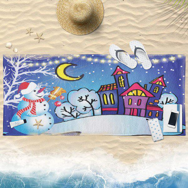 Serviette de bain imprimée Christmas Moon Night - Bleu 75CM*150CM