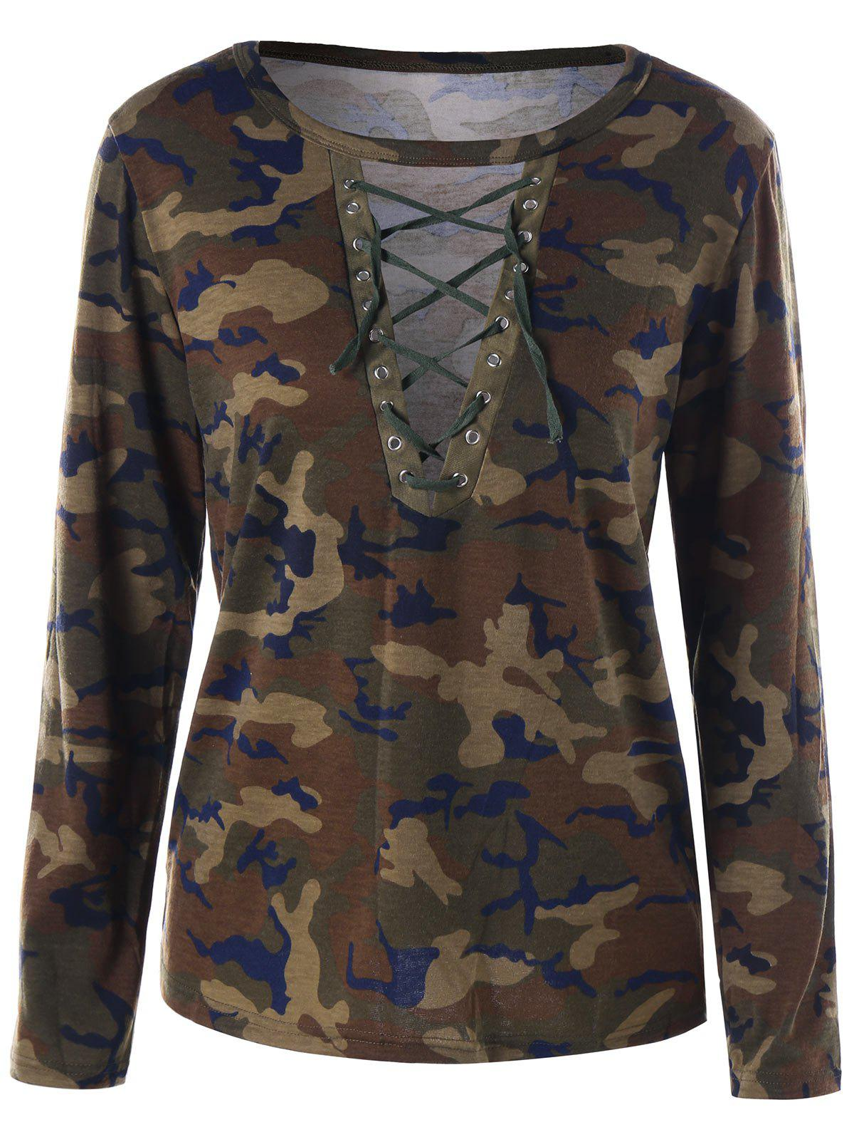 Camouflage Lace Up T-shirt camouflage lace up t shirt