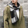 Outdoor Soft Checked Pattern Fringed Long Shawl Scarf - BLACK