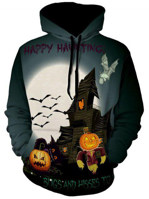 Bat and Pumpkin Print Halloween Hoodie - COLORMIX 2XL