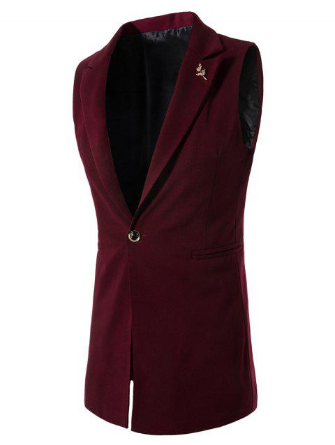 22a91218ba20b7 17% OFF] 2019 One Button Floral Brooch Waistcoat In WINE RED | DressLily