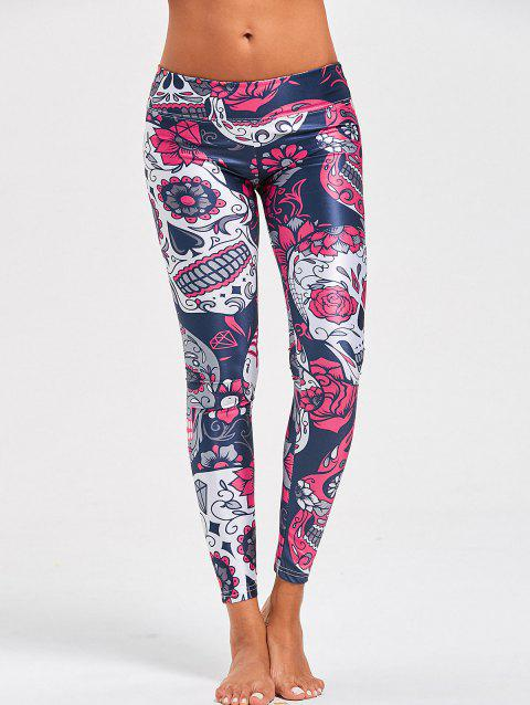 Halloween Floral Skull Print High Waist Leggings - COLORMIX S