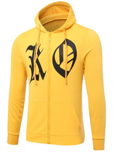 Graphic Print Zip Up Drawstring Hoodie - YELLOW L