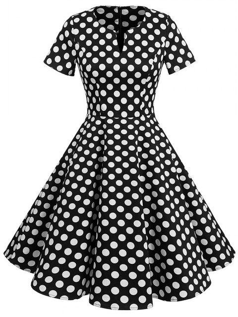 Polka Dot Print Vintage Fit and Flare Dress - BLACK 2XL