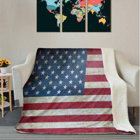 American Flag Pattern Fleece Blanket - COLORMIX W39.4INCH*L59.1INCH