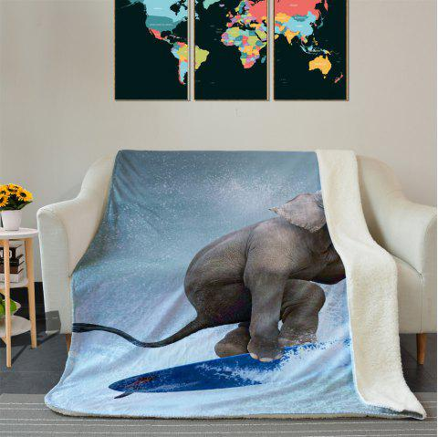 Elephant Surfing Pattern Fleece Thermal Blanket - COLORMIX W59 INCH * L79 INCH