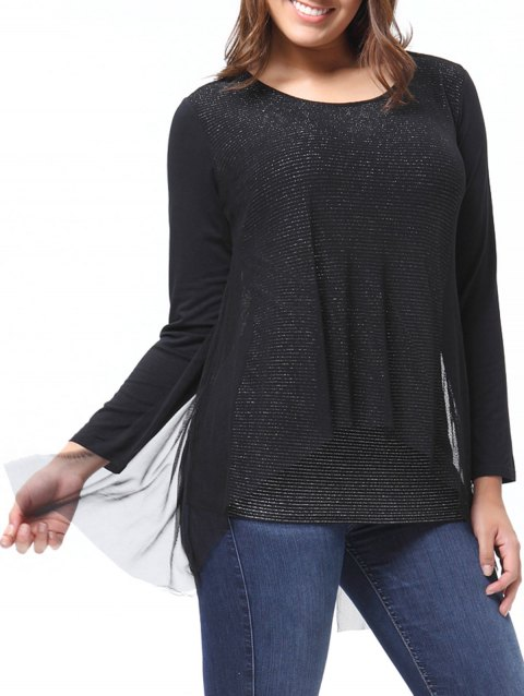 95372b5612f 41% OFF  2019 Plus Size Long Sleeve High Low Tulle Tee In BLACK ...