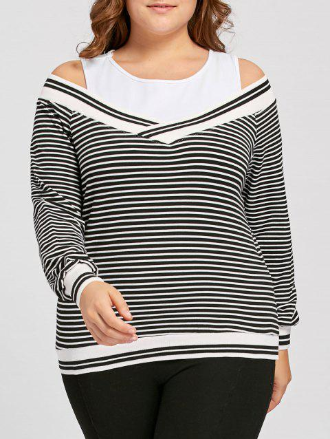 9e2a7c734046d 41% OFF  2019 Plus Size Striped Cold Shoulder Long Sleeve Tee In ...