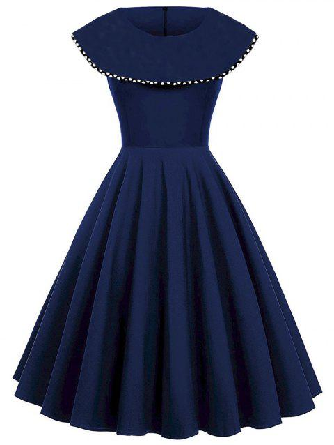 Polka Dot Print Vintage A Line Dress - PURPLISH BLUE L