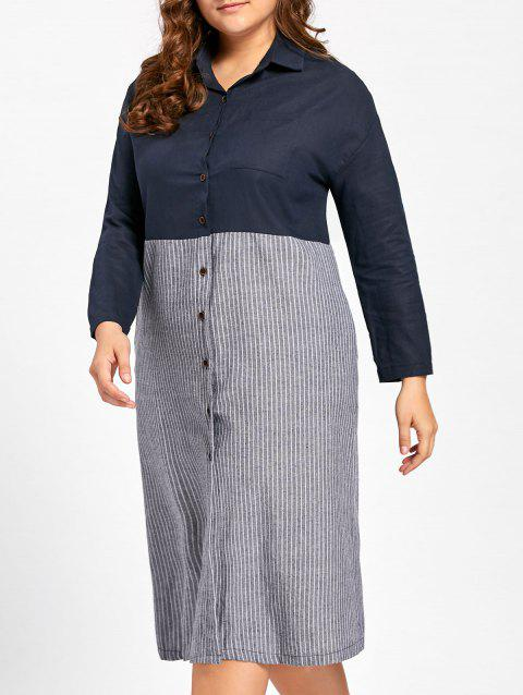 Plus Size Button Up Longline Striped Shirt - BLUE 4XL