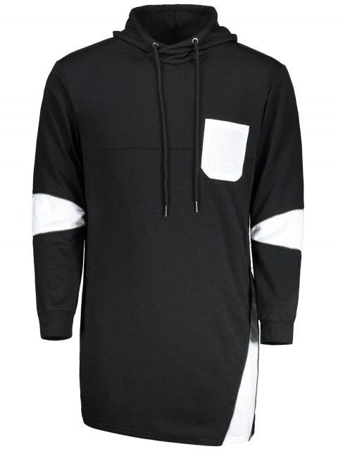 Zipper Color Block Pocket Long Hoodie - Noir 2XL