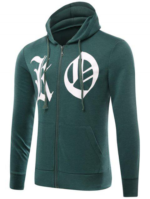Graphic Print Zip Up Drawstring Hoodie - GREEN XL