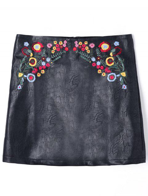 Floral Embroidered PU Leather Skirt - BLACK XL