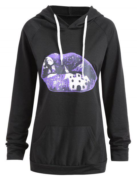 72c29aef75d8c 41% OFF  2019 Plus Size Halloween Lip Moon Print Hoodie In BLACK 2XL ...