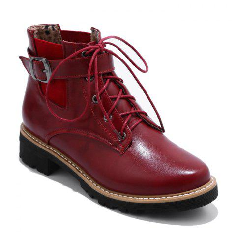 Elastic Band Buckle Strap Ankle Boots - WINE RED 38