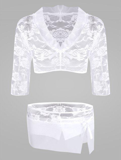 Lace Sheer Crop Top with Skirt - WHITE ONE SIZE