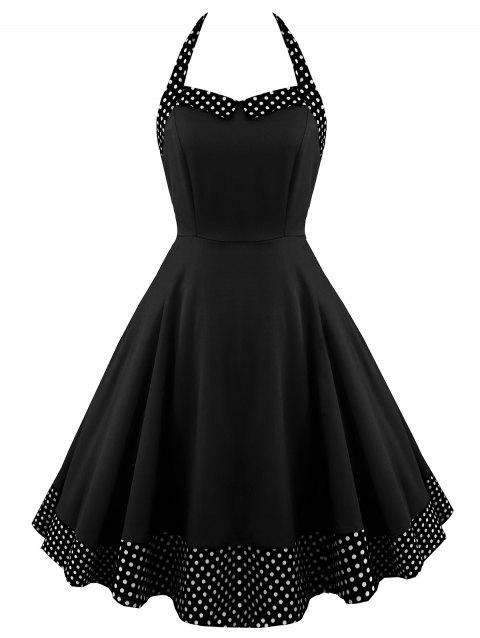 Halter Lace Up Polka Dot Vintage Dress - BLACK XL