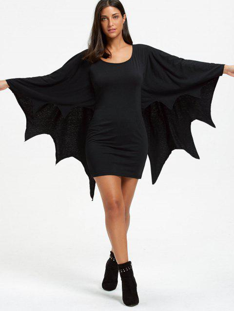Halloween Long Sleeve Bodycon Dress with Bat Wings - BLACK M