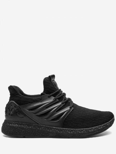 Breathable Striped Tie Up Sneakers - BLACK 44