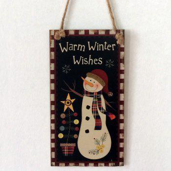 Christmas Snowman Pattern Wooden Hanging Sign - BLACK BLACK