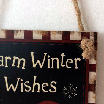 Christmas Snowman Pattern Wooden Hanging Sign -  BLACK