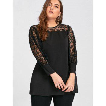 Plus Size See Through Yoke Panel A Line Top - BLACK BLACK