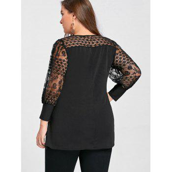Taille plus voir à travers Yoke Panel A Line Top - Noir 5XL