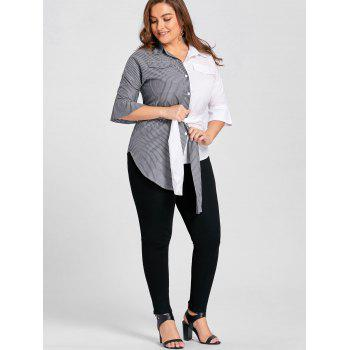 Plus Size Contrast Stripe Shirt with Belt - GREY/WHITE GREY/WHITE