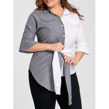Plus Size Contrast Stripe Shirt with Belt - GREY AND WHITE 4XL