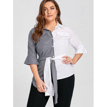 Plus Size Contrast Stripe Shirt with Belt - 5XL 5XL