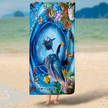 3D Dolphin Pattern Water Absorption Bath Towel - SEA BLUE SEA BLUE