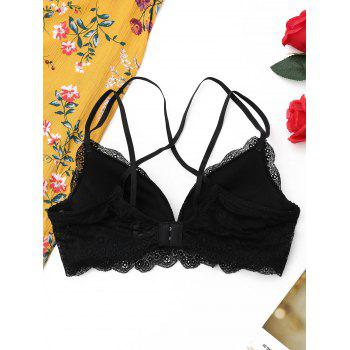 Lace Caged Criss Cross Bra - BLACK BLACK