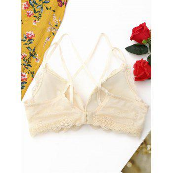 Lace Caged Criss Cross Bra - LIGHT BEIGE 80B