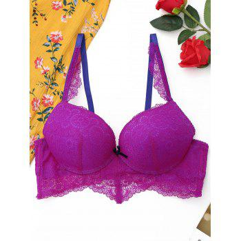 Full Cup Lace Push Up Bra - PURPLISH RED PURPLISH RED