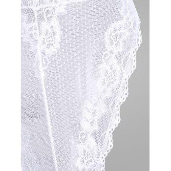 Lace Low Cut Slip Teddy - Blanc ONE SIZE
