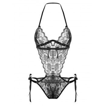 Lace Low Cut Sheer Teddy - BLACK ONE SIZE