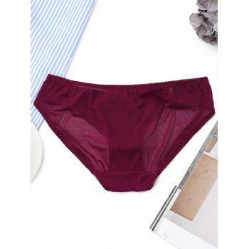 Mesh Lace Insert Panties - BURGUNDY ONE SIZE