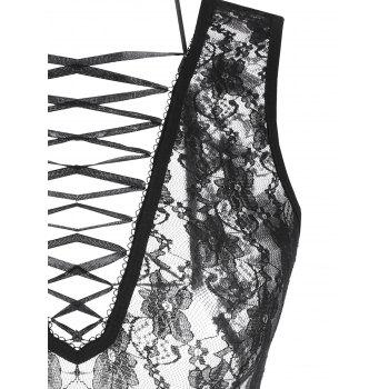 Lace Criss Cross Sheer Teddy - BLACK ONE SIZE