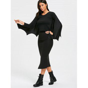 Halloween Batwing Costume Cape - BLACK BLACK