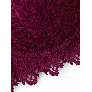 Lace Underwire Push Up Bra - WINE RED 80B