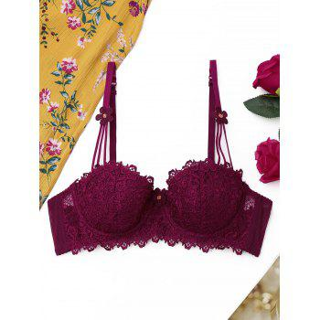 Lace Underwire Push Up Bra - WINE RED 85B