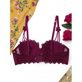 Lace Underwire Push Up Bra - WINE RED 70B
